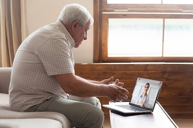 man in a telehealth program