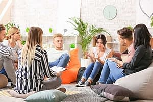 several young adults participate in a group therapy program in northern california