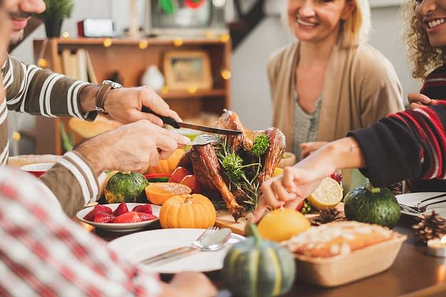 a group of people enjoy a sober thanksgiving