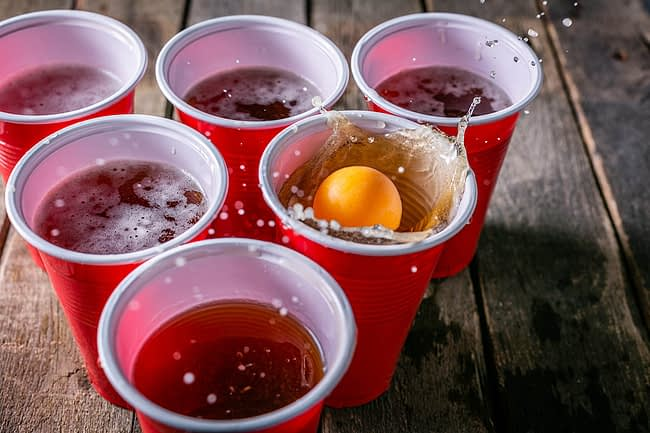 Red solo cups often used during binge drinking in college