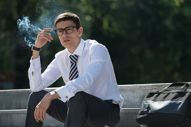 Man smoking a cigarette wonders what are gateway drugs