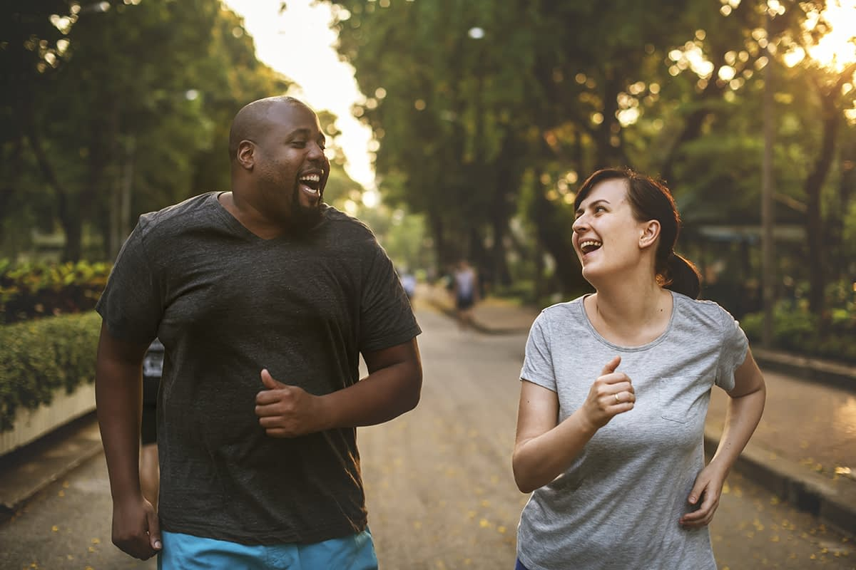 a couple running as part of relapse prevention therapy