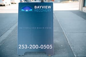 Street advertisement featuring the Bayview Recovery Center