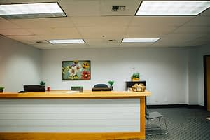 Inviting reception area at the Bayview Recovery Center