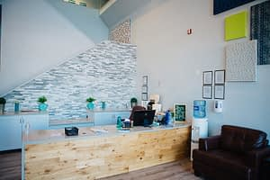 Modern and bright reception area the Bayview Recovery Center