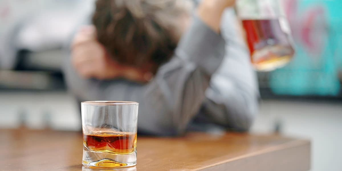 Man exhibiting the classic signs of alcoholism