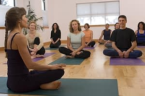 Yoga therapy great group meditation during rehab
