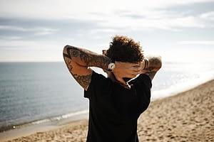 Man alone on beach enjoying drug rehab in Fort Lauderdale Florida