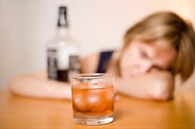 Her depression is a symptom of addiction to alcohol.