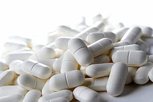 Pile of precription pills may show the Xanax effects when taken.