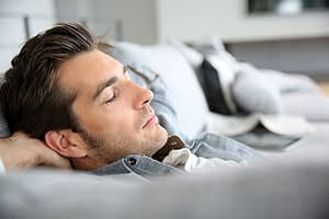 A men's detox program gives this guy some time to relax as well as therapy.