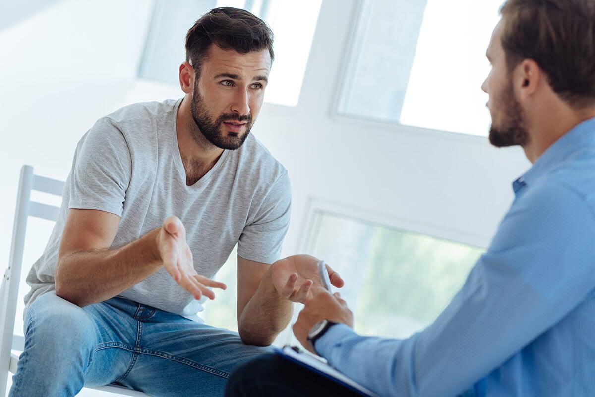 men at a men's heroin rehab program