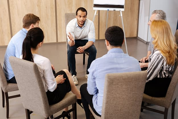 group therapy session at addiction treatment centers in salem oregon