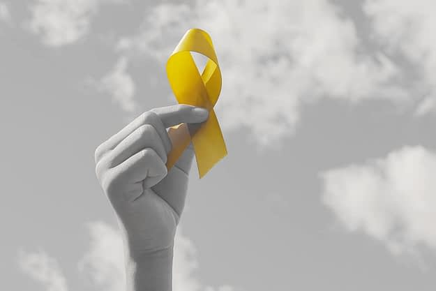 ribbon showing awareness for suicide prevention day