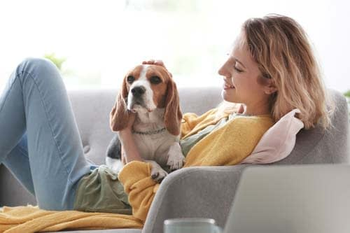 woman in yellow sweater sitting on couch petting dog as she considers going to addiction treatment programs