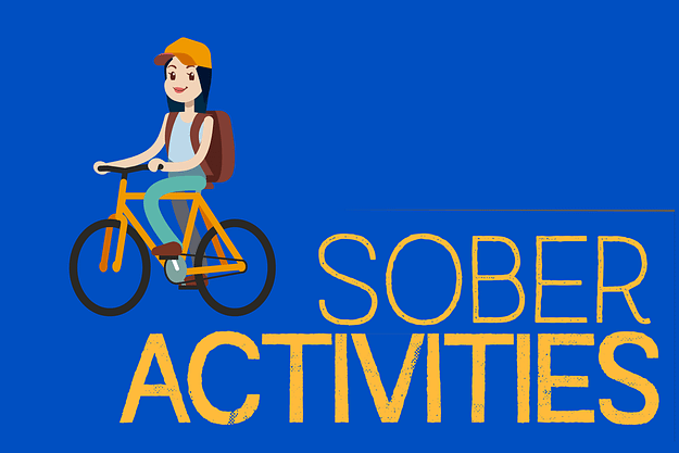 illustration of girl riding a bike with text sober activities