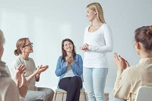 woman supporting each other at women's alcohol rehab