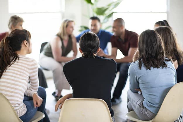 group at a heroin rehab center near Albany, Oregon