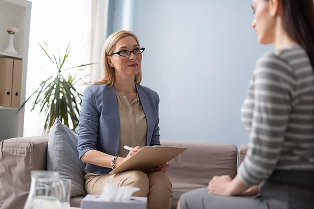 person getting help for sexual health in recovery