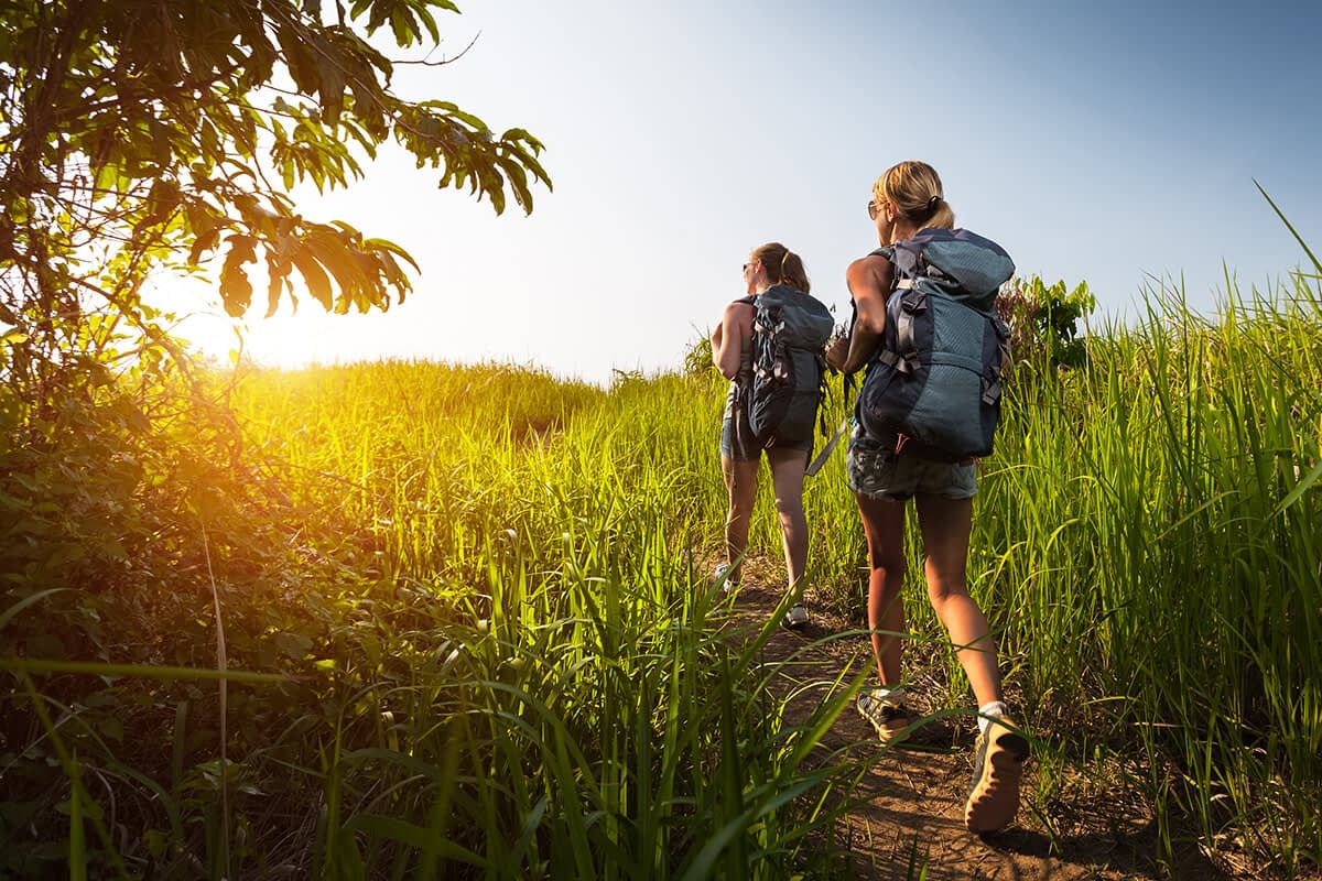 two patients hiking as part of experiential therapy activities